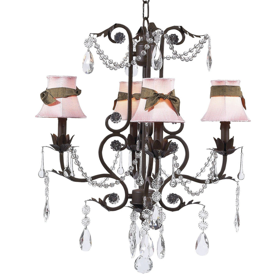 Chandelier - 4-arm - Valentino - mocha w/ Chandelier Shade - Plain - Pink w/ Brown sash-Chandeliers-Default-Jack and Jill Boutique