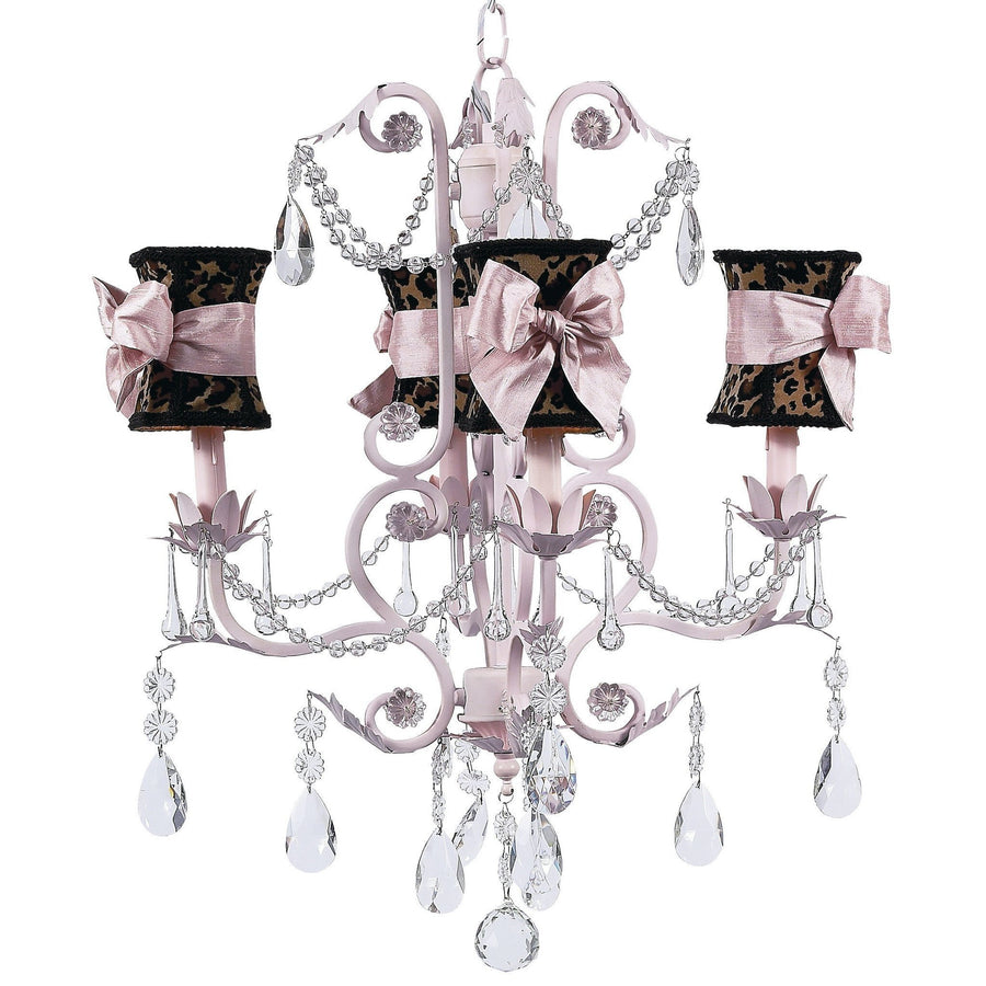 Chandelier - 4-arm - Valentino - pink w/ Chandelier Shade - Hourglass - Leopard w/ Pink sash-Chandeliers-Default-Jack and Jill Boutique