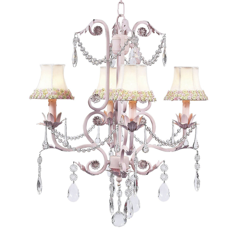 Chandelier - 4-arm - Valentino - pink w/ Chandelier Shade - Pink/Green Flower Border-Chandeliers-Default-Jack and Jill Boutique