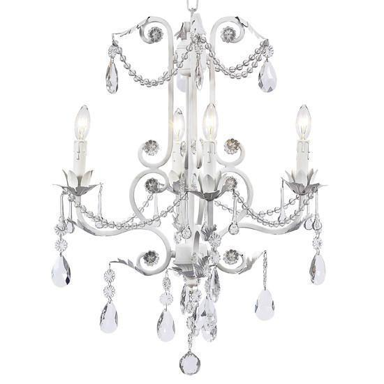 Chandelier - 4-arm - Valentino - white-Chandeliers-Default-Jack and Jill Boutique