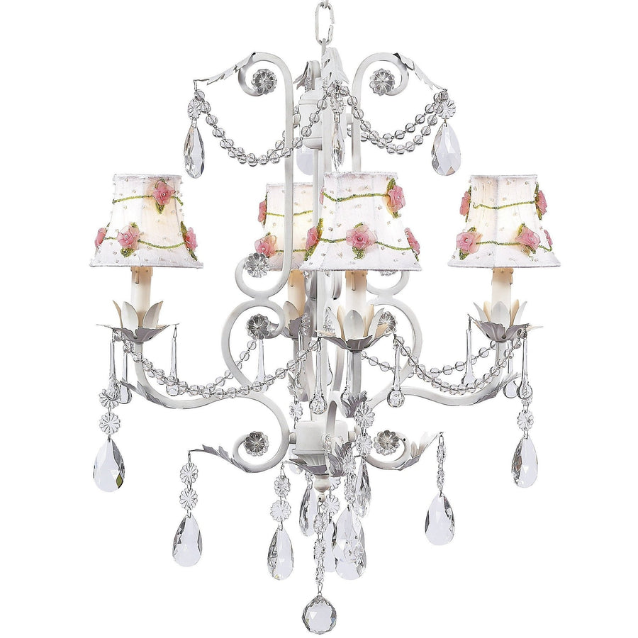 Chandelier - 4-arm - Valentino - white w/ Chandelier Shade - Pink Net Flower - White-Chandeliers-Default-Jack and Jill Boutique