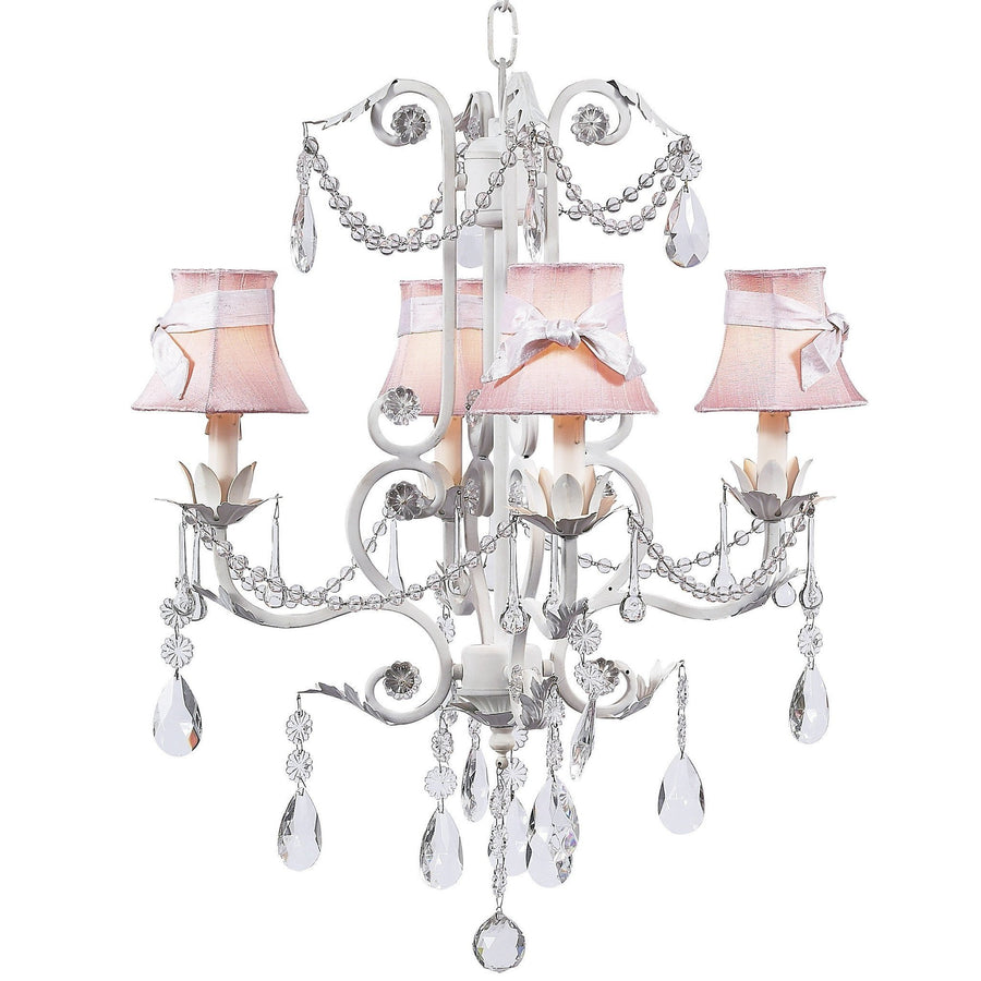 Chandelier - 4-arm - Valentino - white w/Chandelier Shade - Plain - Pink w/sash-Chandeliers-Default-Jack and Jill Boutique