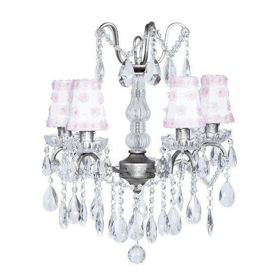 Chandelier - 4 Light - Crystal Glass Center - Antique Grey w/ Sconce Shade - Petal Flower - White/Pink-Chandeliers-Default-Jack and Jill Boutique
