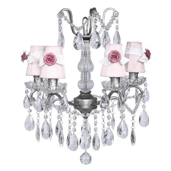 Chandelier - 4 Light - Crystal Glass Center - Antique Grey w/ White w/ Sconce Shade - Plain - Pink with White Sashes and Bright Pink Rose Magnets-Chandeliers-Default-Jack and Jill Boutique