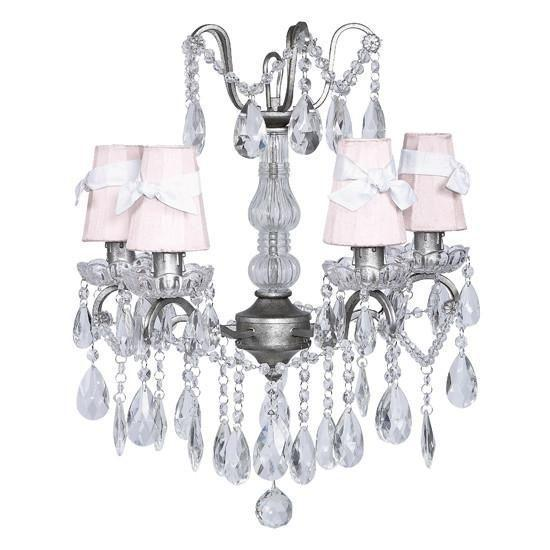 Chandelier - 4 Light - Crystal Glass Center - Antique Grey w/ White w/ Sconce Shade - Plain - Pink with White Sashes-Chandeliers-Default-Jack and Jill Boutique