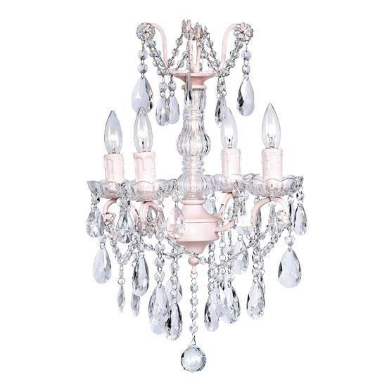 Chandelier - 4 Light - Crystal Glass Center - Pink