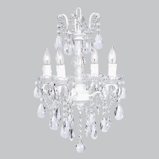 Chandelier - 4 Light - Crystal Glass Center - White
