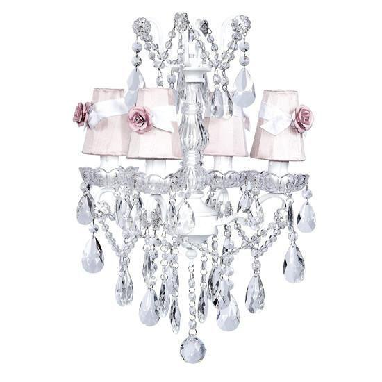 Chandelier - 4 Light - Crystal Glass Center - White w/ Sconce Shade - Plain - Pink with White Sashes and Light Pink Rose Magnets-Chandeliers-Default-Jack and Jill Boutique