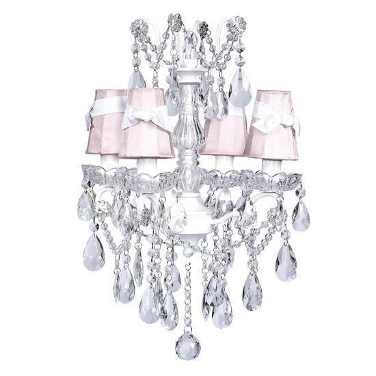 Chandelier - 4 Light - Crystal Glass Center - White w/ White w/ Sconce Shade - Plain - Pink with White Sashes-Chandeliers-Default-Jack and Jill Boutique