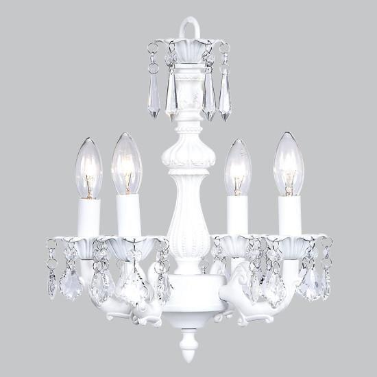 Chandelier - 4 Light - Fountain - White-Chandeliers-Default-Jack and Jill Boutique