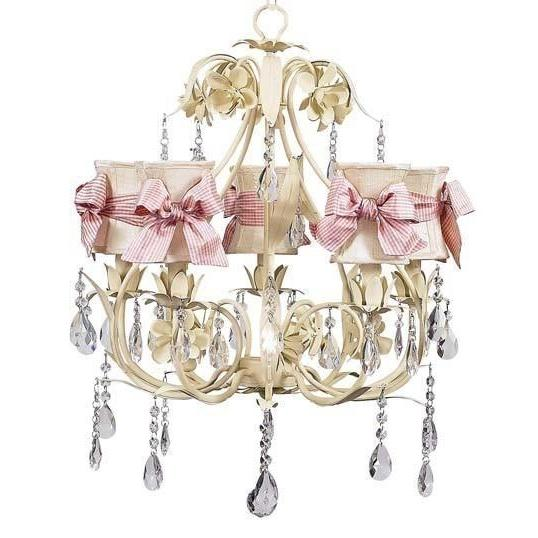 Chandelier - 5-Arm - Ballroom - Ivory w/ Chandelier Shade - Hourglass - Ivory w/ Pink Check sash-Chandeliers-Default-Jack and Jill Boutique