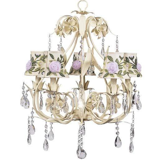 Chandelier - 5-Arm - Ballroom - Ivory w/ Chandelier Shade - Rose Net Flower - Ivory-Chandeliers-Default-Jack and Jill Boutique