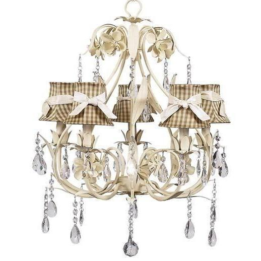 Chandelier - 5-Arm - Ballroom - Ivory w/ Chandelier Shade - Taupe Check w/ Ivory sash-Chandeliers-Default-Jack and Jill Boutique