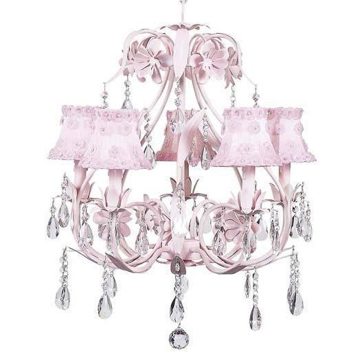 Chandelier - 5-Arm - Ballroom - Pink w/ Chandelier Shade - Petal Flower - Pink-Chandeliers-Default-Jack and Jill Boutique