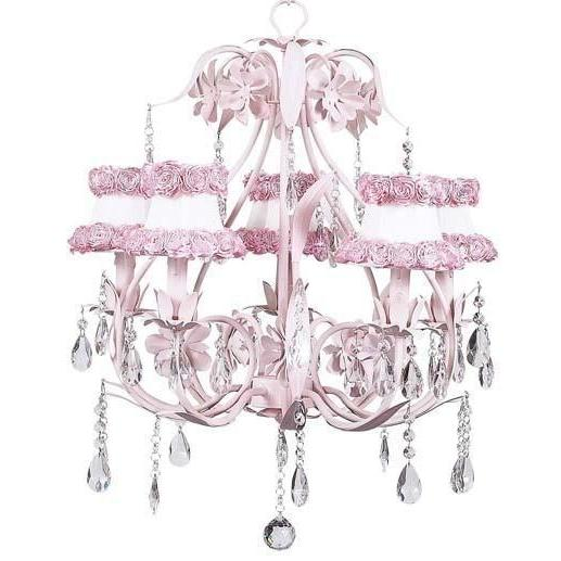 Chandelier - 5-Arm - Ballroom - Pink w/ Chandelier Shade - Ring of Roses on white-Chandeliers-Default-Jack and Jill Boutique