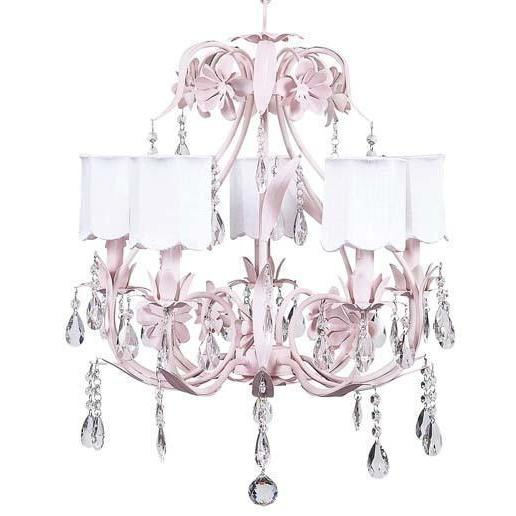 Chandelier - 5-Arm - Ballroom - Pink w/ Chandelier Shade - Scallop Drum - White w/ Chandelier Shade - Scallop Drum - White-Chandeliers-Default-Jack and Jill Boutique