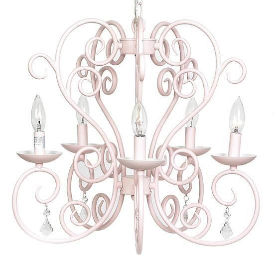 Chandelier - 5-arm - Carriage - Pink-Chandeliers-Default-Jack and Jill Boutique