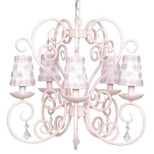 Chandelier - 5-arm - Carriage - Pink w/ Sconce Shade - Petal Flower - White/Pink-Chandeliers-Default-Jack and Jill Boutique