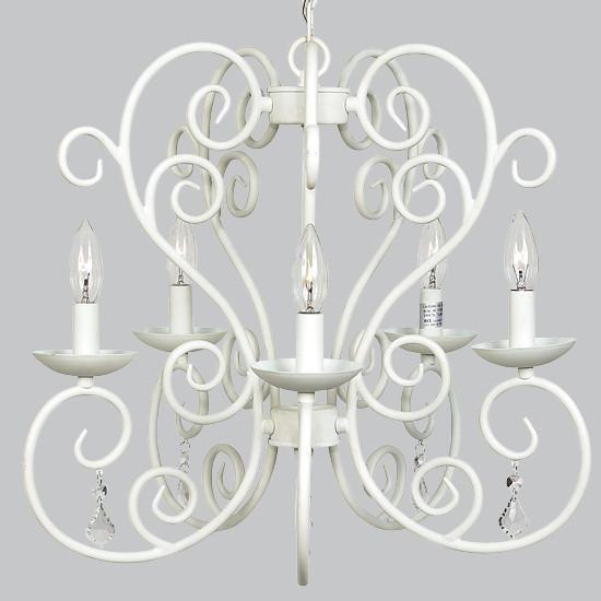 Chandelier - 5-arm - Carriage - White-Chandeliers-Default-Jack and Jill Boutique