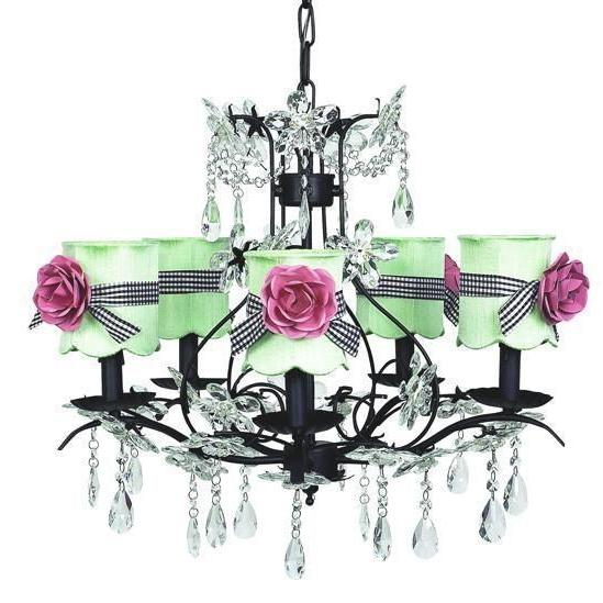 Chandelier - 5-Arm - Cinderella - Black w/ Chandelier Shade - Scallop Drum - Modern Green w/sash & magnets-Chandeliers-Default-Jack and Jill Boutique