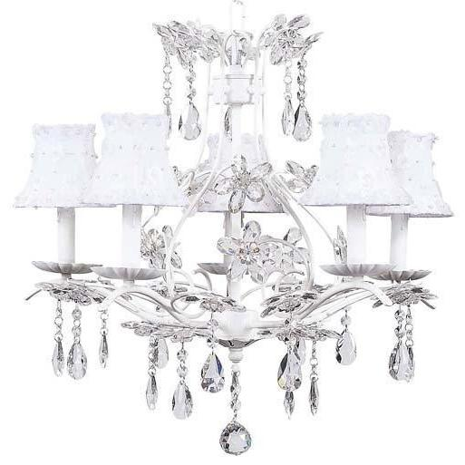 Chandelier - 5-Arm - Cinderella - White w/ Chandelier Shade - Petal Flower -White-Chandeliers-Default-Jack and Jill Boutique