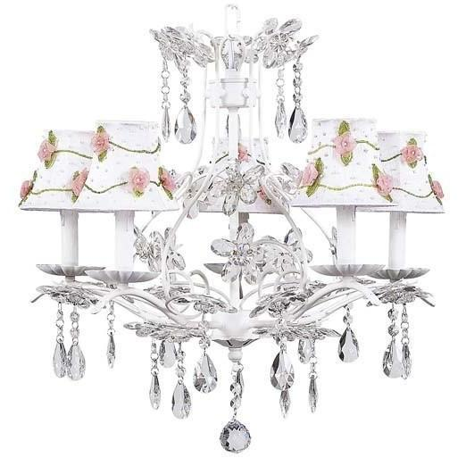 Chandelier - 5-Arm - Cinderella - White w/ Chandelier Shade - Pink Net Flower - White-Chandeliers-Default-Jack and Jill Boutique