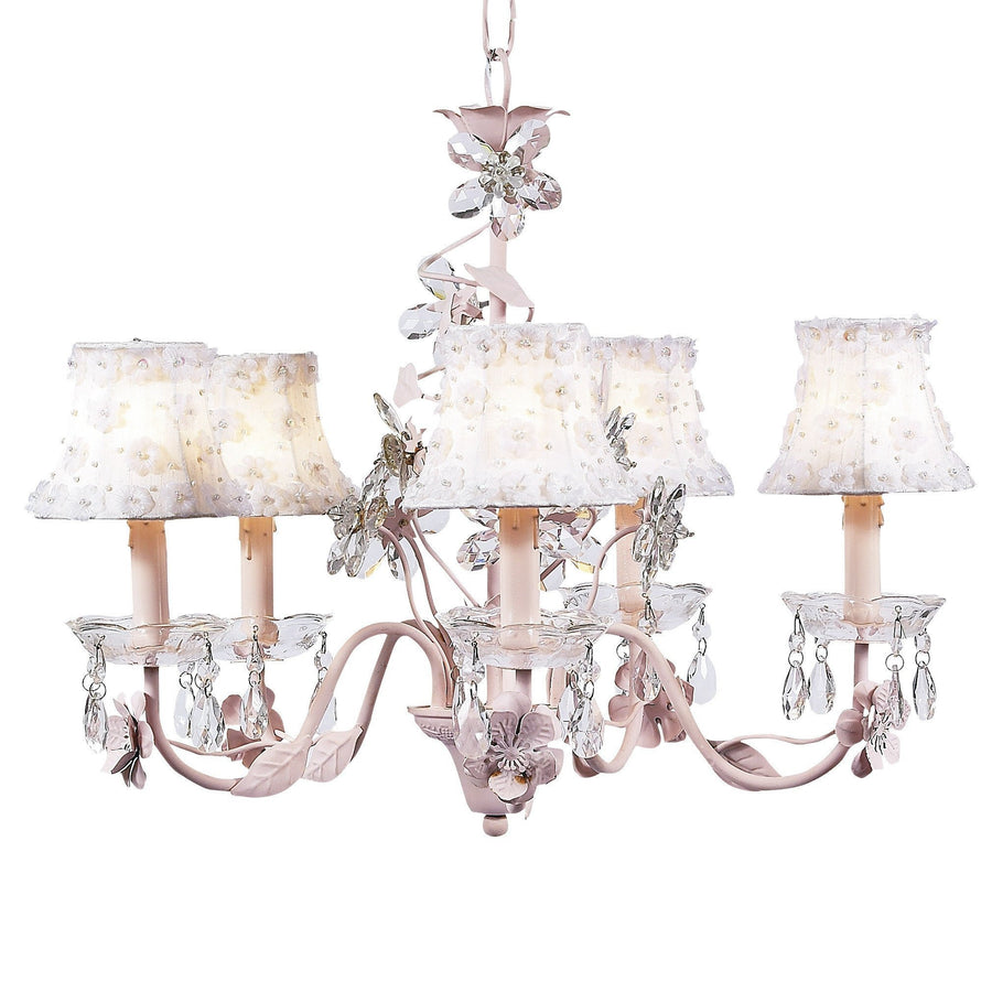Chandelier - 5-Arm - Crystal Flower - Pink w/ Chandelier Shade - Petal Flower -White-Chandeliers-Default-Jack and Jill Boutique