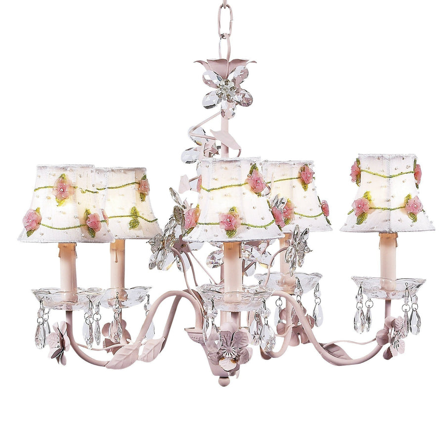 Chandelier - 5-Arm - Crystal Flower - Pink w/ Chandelier Shade - Pink Net Flower - White-Chandeliers-Default-Jack and Jill Boutique