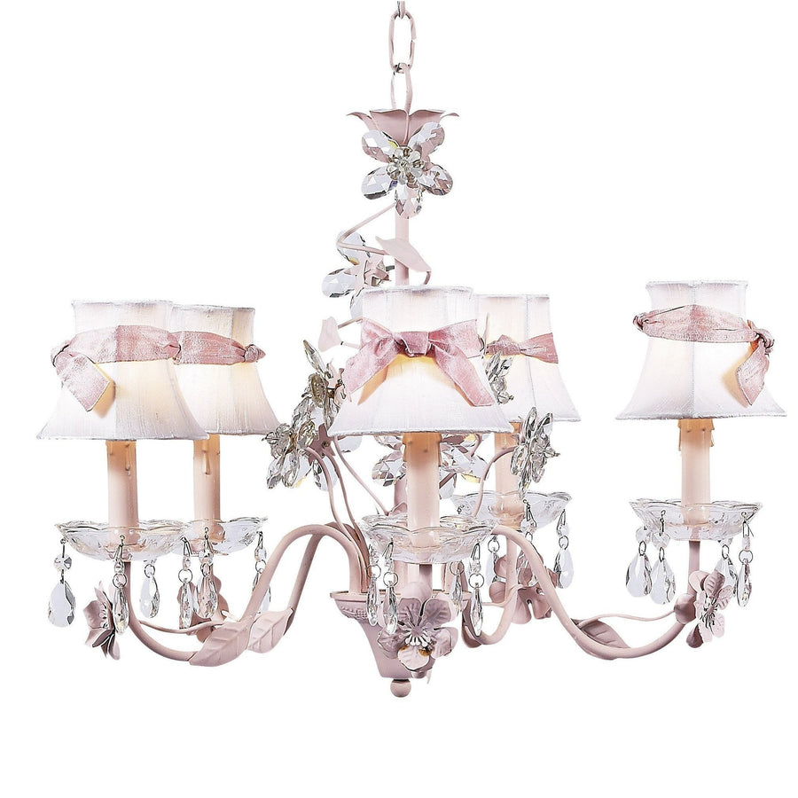 Chandelier - 5-Arm - Crystal Flower - Pink w/ Chandelier Shade - Plain - White w/sash-Chandeliers-Default-Jack and Jill Boutique