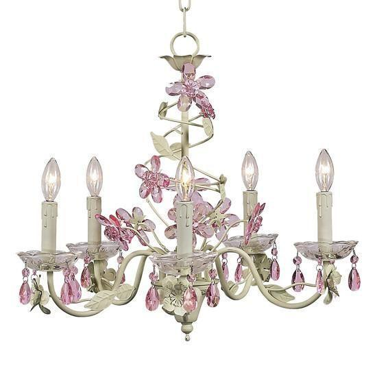 Chandelier - 5-Arm - Crystal Flower - Soft Green & Pink