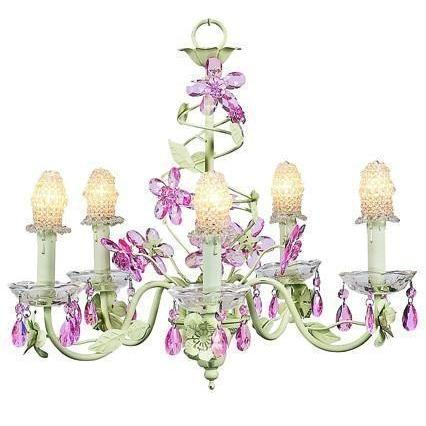 Chandelier - 5-Arm - Crystal Flower - Soft Green & Pink w/ Bulb Cover - Clear-Chandeliers-Default-Jack and Jill Boutique