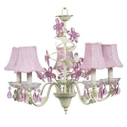 Chandelier - 5-Arm - Crystal Flower - Soft Green & Pink w/ Chandelier Shade -Glass Bead on Fabric - Pink-Chandeliers-Default-Jack and Jill Boutique