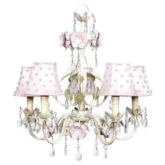 Chandelier - 5-Arm - Flower Garden - Ivory, Sage & Pink w/ Chandelier Shade - Pink Pearl Dot-Chandeliers-Default-Jack and Jill Boutique