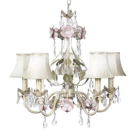 Chandelier - 5-Arm - Flower Garden - Ivory, Sage & Pink w/ Chandelier Shade - Plain - Ivory-Chandeliers-Default-Jack and Jill Boutique
