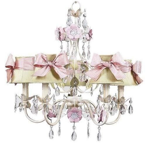 Chandelier - 5-Arm - Flower Garden - Ivory, Sage & Pink w/ Chandelier Shade - Plain - Ivory w/ Pink check sash-Chandeliers-Default-Jack and Jill Boutique
