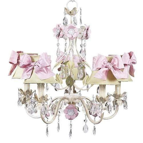 Chandelier - 5-Arm - Flower Garden - Ivory, Sage & Pink w/ Chandelier Shade - Plain - Ivory w/ Pink sash-Chandeliers-Default-Jack and Jill Boutique