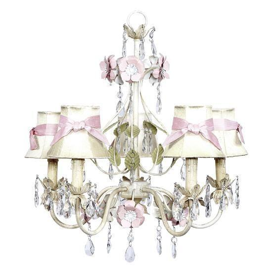Chandelier - 5-Arm - Flower Garden - Ivory, Sage & Pink w/ Chandelier Shade - Plain - Ivory with pink sashes-Chandeliers-Default-Jack and Jill Boutique