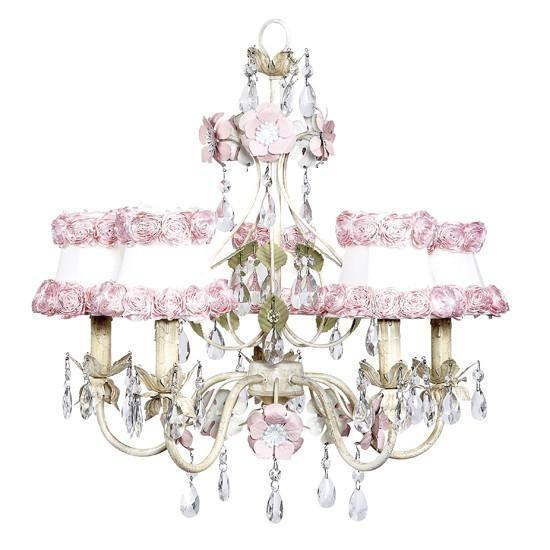 Chandelier - 5-Arm - Flower Garden - Ivory, Sage & Pink w/ Chandelier Shade - Ring of Roses on white-Chandeliers-Default-Jack and Jill Boutique
