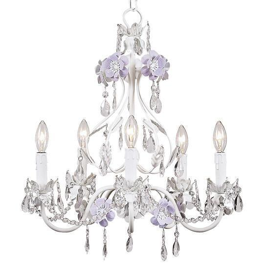 Chandelier - 5-Arm - Flower Garden - Lavender & White-Chandeliers-Default-Jack and Jill Boutique