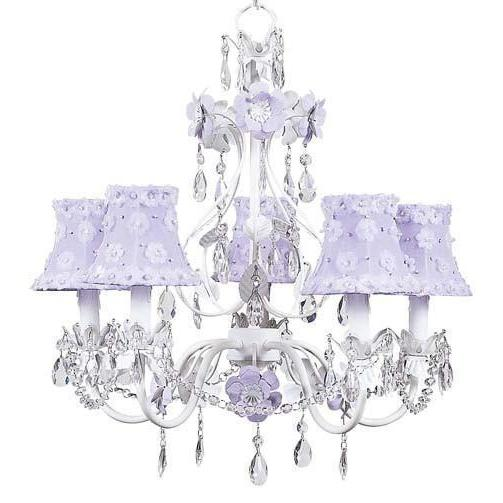 Chandelier - 5-Arm - Flower Garden - Lavender & White w/ Chandelier Shade - Petal Flower - Lavender