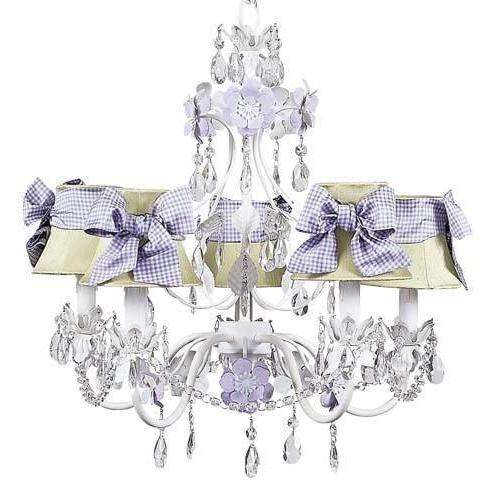 Chandelier - 5-Arm - Flower Garden - Lavender & White w/ Sage Green Chandelier Shade and Lavender Check Sash-Chandeliers-Default-Jack and Jill Boutique
