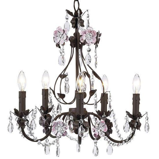 Chandelier - 5-Arm - Flower Garden - Mocha & Pink-Chandeliers-Default-Jack and Jill Boutique