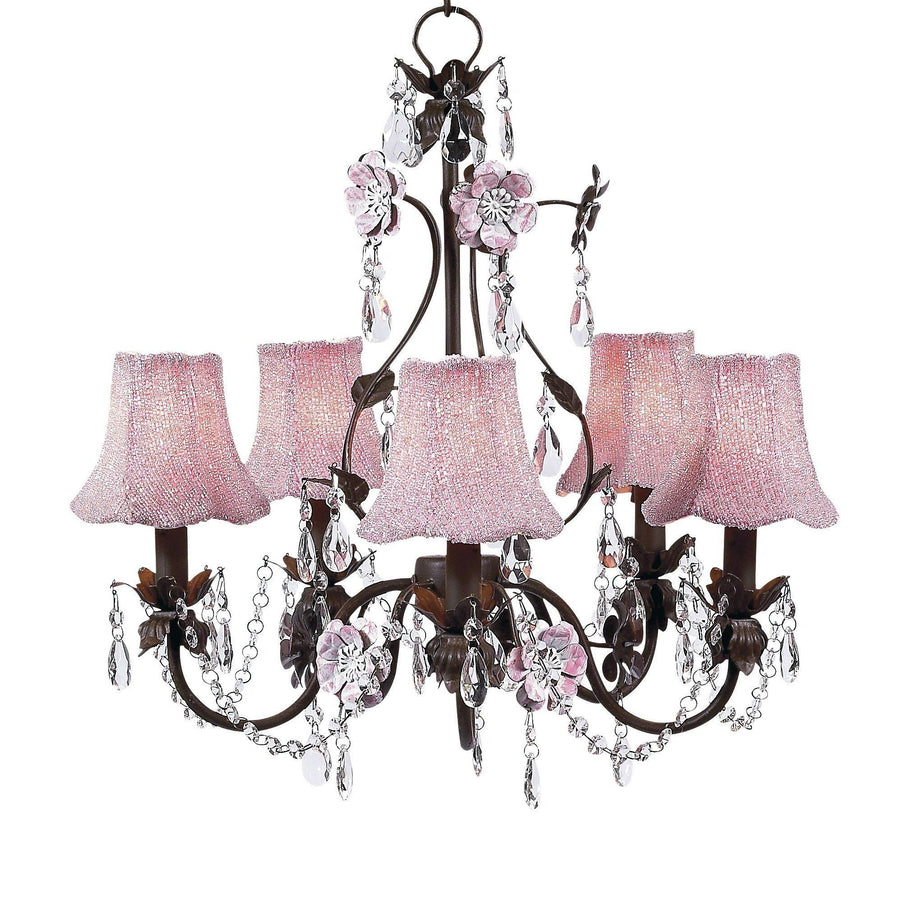 Chandelier - 5-Arm - Flower Garden - Mocha & Pink w/ Chandelier Shade -Glass Bead on Fabric - Pink-Chandeliers-Default-Jack and Jill Boutique