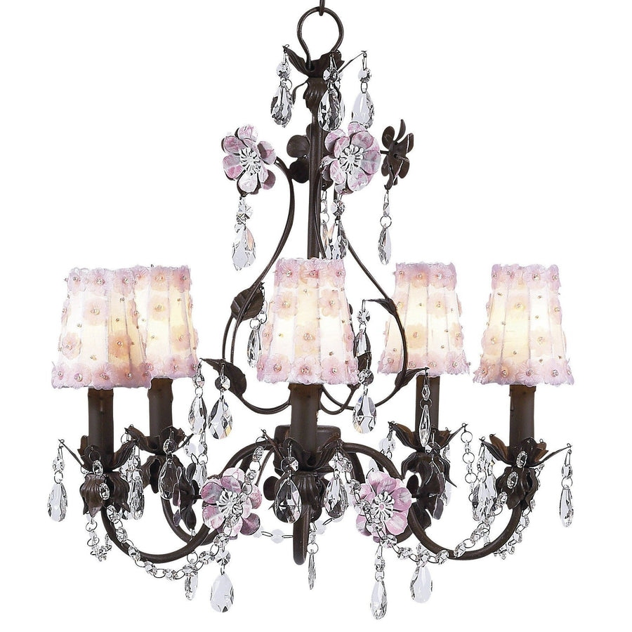 Chandelier - 5-Arm - Flower Garden - Mocha & Pink w/ Sconce Shade - Petal Flower - White/Pink-Chandeliers-Default-Jack and Jill Boutique
