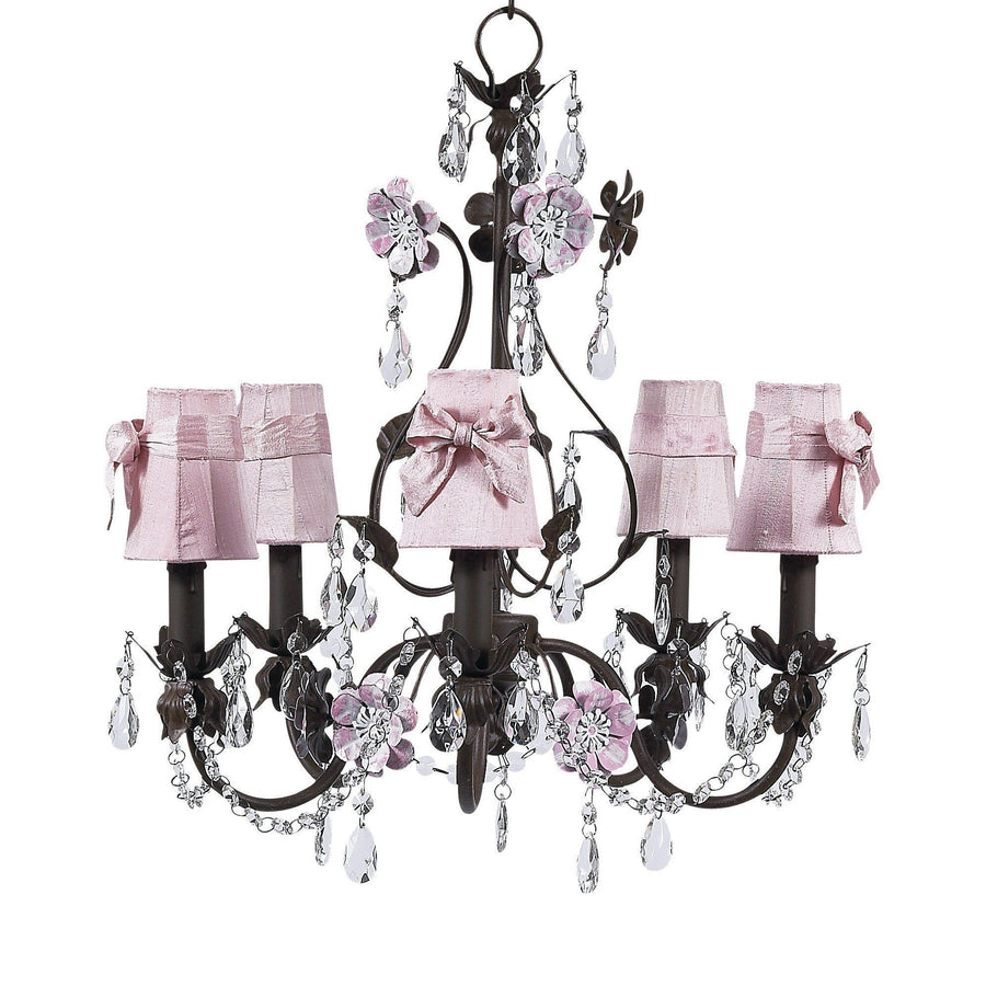 Chandelier - 5-Arm - Flower Garden - Mocha & Pink w/ Sconce Shade - Plain - Pink w/sash-Chandeliers-Default-Jack and Jill Boutique