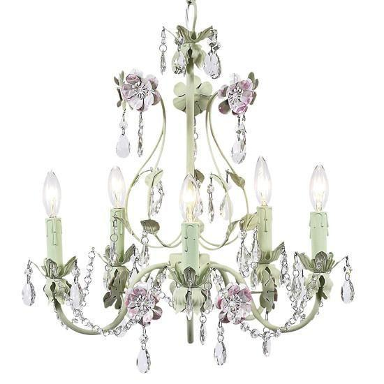 Chandelier - 5-Arm - Flower Garden - Pink & Green-Chandeliers-Default-Jack and Jill Boutique