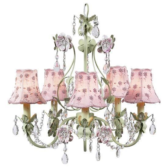 Chandelier - 5-Arm - Flower Garden - Pink & Green w/ Chandelier Shade - Daisy Pearl - Pink-Chandeliers-Default-Jack and Jill Boutique