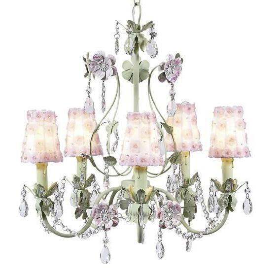 Chandelier - 5-Arm - Flower Garden - Pink & Green w/ Sconce Shade - Petal Flower - White/Pink-Chandeliers-Default-Jack and Jill Boutique
