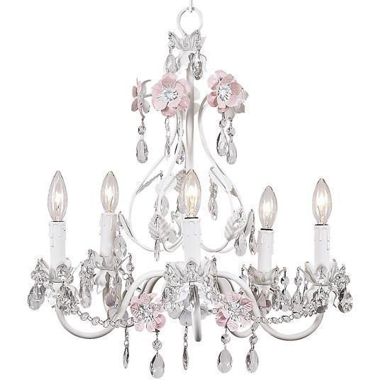 Chandelier - 5-Arm - Flower Garden - Pink & White