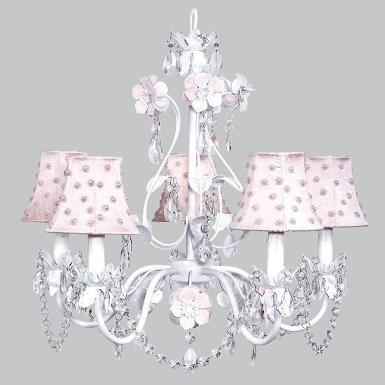 Chandelier - 5-Arm - Flower Garden - Pink & White w/ Chandelier Shade - Pink Pearl Dot-Chandeliers-Default-Jack and Jill Boutique
